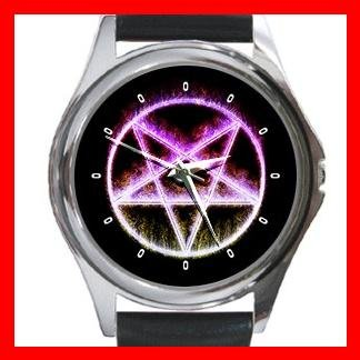 Wicca Pentagram Pentacle Round Metal Wrist Watch Unisex 099