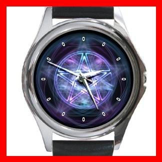Wicca Pentagram Pentacle Round Metal Wrist Watch Unisex 100
