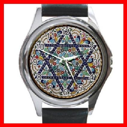 Star Of David Round Metal Wrist Watch Unisex 108