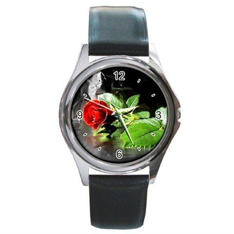Red Rose Flower Round Metal Wrist Watch Unisex 116