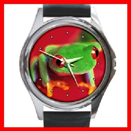 Red Eye Tree Frog Round Metal Wrist Watch Unisex 117