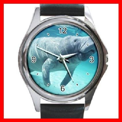 Cool Manatee Sea Water Round Metal Wrist Watch Unisex 121