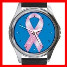 Breast Cancer Ribbon Round Metal Wrist Watch Unisex 122
