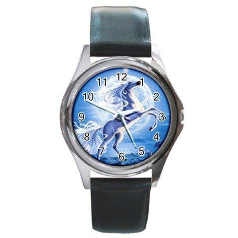 UNICORN AND MOON Flying Myth Round Metal Wrist Watch Unisex 124