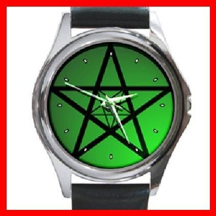 Green Pentacle Hobby Round Metal Wrist Watch Unisex 125