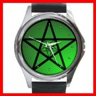 Green Pentacle Hobby Round Metal Wrist Watch Unisex 125