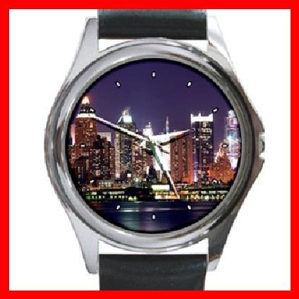 New York City Night Skyline Round Metal Wrist Watch Unisex 126