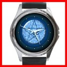 Wicca Pentagram Pentacle Round Metal Wrist Watch Unisex 127