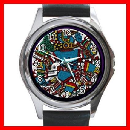 AZTEC Art Ancient History Round Metal Wrist Watch Unisex 143