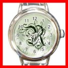 "Green Floral Monogram ""R"" Round Charm Wrist Watch New!"