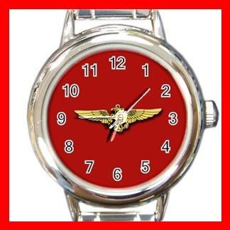 Red Marine Pilot Wings Round Charm Wrist Watch Amy