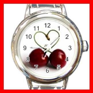 Two Cherrys Heart Round Charm Wrist Watch Fruit New!!!