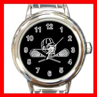 Lacrosse Sticks Round Charm Wrist Watch Sport Game Fun