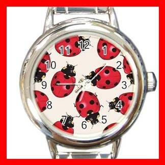 Ladybugs Bugs Insects Italian Round Charm Watch New
