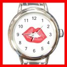 Kiss Me Red Lips Round Charm Wrist Watch Love Lover