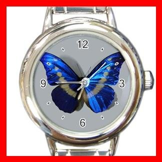 NO.1 Hot Blue Butterfly Round Italian Charm Watch