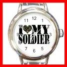 I Love My Soldiers Amy Round Italian Charm Wrist Watch