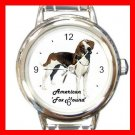 Cute American Fox Hound Pet Dog Animal Round Italian Charm Wrist Watch