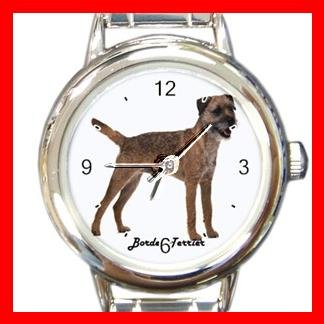 Cute Border Terrier Pet Dog Animal Round Italian Charm Wrist Watch