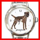 Cute Border Terrier Pet Dog Animal Round Italian Charm Wrist Watch