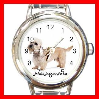 Cute Dandie Dinmont Terrier Pet Dog Animal Round Italian Charm Wrist Watch