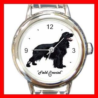 Cute Field Spaniel Pet Dog Animal Round Italian Charm Wrist Watch