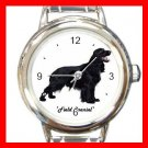 Cute Field Spaniel Pet Dog Animal Round Italian Charm Wrist Watch