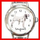 Cute Fox Terrier Pet Dog Animal Round Italian Charm Wrist Watch