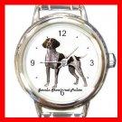Cute German Shorthair Pointer Pet Dog Animal Round Italian Charm Wrist Watch
