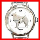 Cute kuvasz Pet Dog Animal Round Italian Charm Wrist Watch