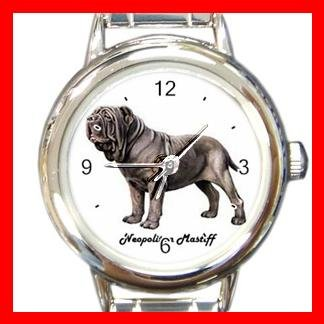 Cute Neopolitan Mastiff Pet Dog Animal Round Italian Charm Wrist Watch