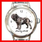 Cute Neopolitan Mastiff Pet Dog Animal Round Italian Charm Wrist Watch