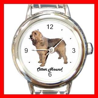 Cute Otter Hound Pet Dog Animal Round Italian Charm Wrist Watch 500