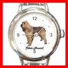Cute Otter Hound Pet Dog Animal Round Italian Charm Wrist Watch 500