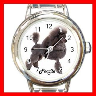 Cute Poodle Pet Dog Animal Round Italian Charm Wrist Watch 505