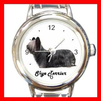 Cute Skye Terrier Pet Dog Animal Round Italian Charm Wrist Watch 505