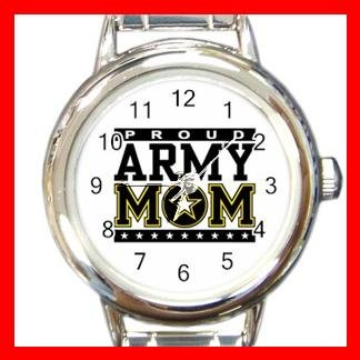 Proud Army Mom Love Mother Round Italian Charm Watch 506