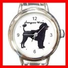 Cute Portuguese Water Pet Dog Animal Round Italian Charm Wrist Watch 507