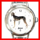 Cute Saluki Pet Dog Animal Round Italian Charm Wrist Watch 508
