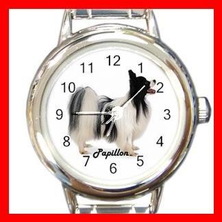 Cute Papillon Pet Dog Animal Round Italian Charm Wrist Watch 509