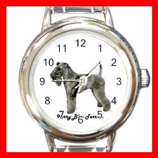 Cute Kerry Blue Terrier Pet Dog Animal Round Italian Charm Wrist Watch 513