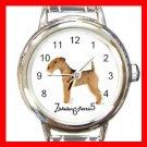 Cute Lakeland Terrier Pet Dog Animal Round Italian Charm Wrist Watch 514