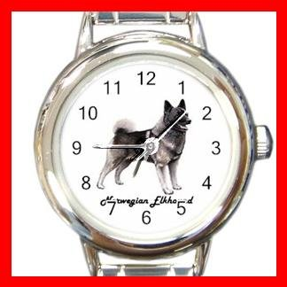 Cute Norwegian Elkhound  Pet Dog Animal Round Italian Charm Wrist Watch 516