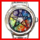 Wicca Pentagram Pentacle Round Italian Charm Wrist Watch 521