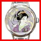 Geisha Geiko Janapese Art Round Italian Charm Wrist Watch 527