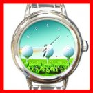 Golf Ball Sports Game Hobby Round Italian Charm Wrist Watch 528
