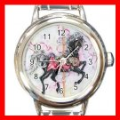 BLACK CAROUSEL HORSE Play Kids Round Italian Charm Wrist Watch 535