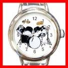 DRUM SET PERCUSSION MUSIC Round Italian Charm Wrist Watch 539
