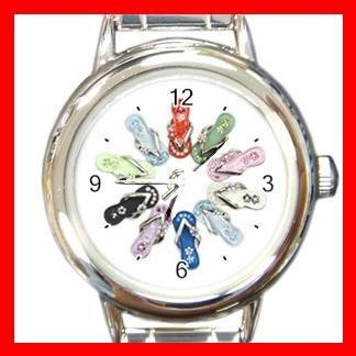 Flip-Flops Slipper Round Italian Charm Wrist Watch 541