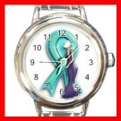 OVARIAN CANCER RIBBON Round Italian Charm Wrist Watch 542